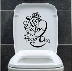 Keep Calm Poop On Toilet Bathroom Funny Decal vinyl wall art sticker universal on Etsy, $8.45