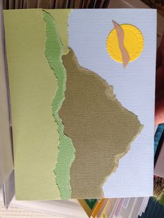 Torn paper mountain card
