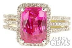 Hot Pink Sapphire - 5.09 cts and Diamond Gemstone Ring in 18 karat white gold - SOLD