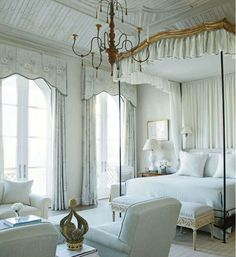 "BEDROOM – Guest bedroom – The bedroom I wake up in would look something like this...all decorated in creams, taupes and a sprinkling of blue fabrics; vaulted ceiling, large windows with curtains billowing from the ocean breeze with almost that ""Out of Africa"" feel!"