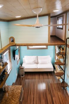 """""""Big Whimsy"""" Tiny House on Wheels by Wind River Tiny Homes Design Interior Small House Off Grid Tiny House, Tiny House Loft, Best Tiny House, Tiny House Living, Tiny House Plans, Tiny House On Wheels, Tiny House Stairs, Living Room, Kitchen Living"""