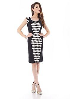 Inter Zeila 9404 | GN Design GroupINTER ZEILA 9404  Vestido corto en stretch y redecilla, disponible en negro y blanco