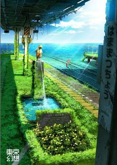 ✮ ANIME ART ✮ anime scenery. . .architecture. . .abandoned. . .train tracks. . .water. . .sunlight. . .flowers. . .nature. . .amazing detail. . .fantasy. . .kawaii