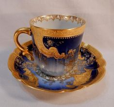 Very Fine Gold & Silver Trimmed Cobalt Blue Demitasse Cup & Saucer Marked Haviland Limoges Any Imperfections Should be Considered Photographic reflections. Ovington Brothers of Brooklyn. I could find