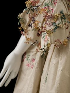 Detail, sleeve with fringe: Dress, English, c 1750, silk brocade. Indianapolis Museum of Art.