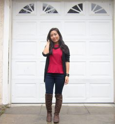 Red Peplum and Knee High Boots   www.petiteandhungry.blogspot.com