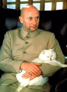 """Donald Pleasence as 'Ernst Stavro Blofeld' in """"You Only Live Twice"""", (1967)."""