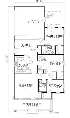 First Floor Plan of Bungalow   House Plan 62176
