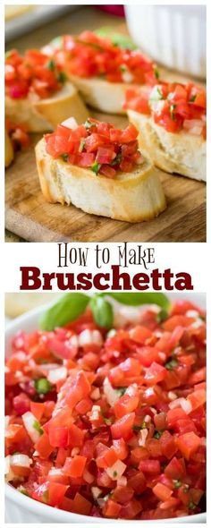 How to make Bruschetta! This is the best Bruschetta recipe, and it's so easy! How to make Bruschetta! This is the best Bruschetta recipe, and it's so easy! Best Bruschetta Recipe, How To Make Bruschetta, Bruschetta Salsa Recipe, Bruchetta Bread, Salsa Guacamole, Potluck Dishes, Wie Macht Man, Appetizer Recipes, Dining