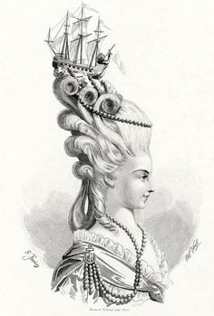 """There is no hair more iconic, perhaps, than Marie Antoinette's elaborately curled and beribboned wigs. Her daringly avant-garde style and her love of fashion took Versailles by storm, and the ladies of court were constantly trying to emulate the Queen's frequently changing coiffure... One of the most well known trends of this period was for miniature models of war ships to be placed upon rolling waves of curls, in celebration of French Navy victories against the British"