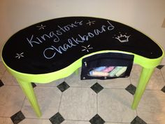 Cheap table painted w rustoleum spray paint, spray paint the top with chalkboard paint, dollar tree chalk and pencil case, Velcro $2 at WalMart. I had the green spray paint so thie total cost of this project was $8, and I still have almost a full can of black chalk paint left! hmmm what to paint next...