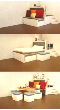17 Mehrzweckmöbel, das die Funktion in kürzester Zeit ändert - Oha Ya Compact Furniture, Folding Beds, Small Drawers, Small Apartments, Space Saving, Floating Shelves, Woodworking Plans, Corner Desk, New Homes