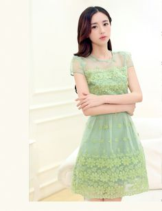 Summer Crocheted Flower Lace Dress YRB0497