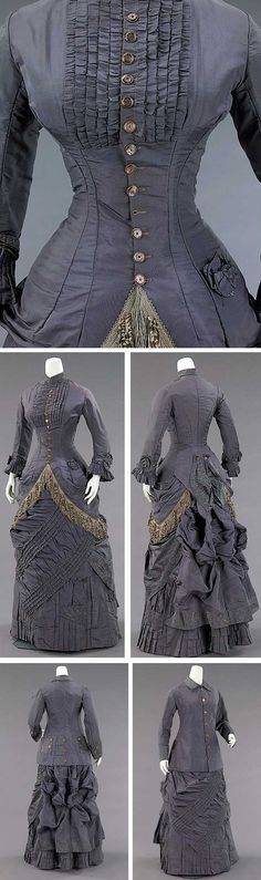 Afternoon ensemble Culture: American Medium: silk, abalone Dimensions: Length at CB (a): 41 in. Length at CB (b): 36 in. Length at CB (c): 28 in. Vintage Outfits, Vintage Gowns, Vintage Mode, 1870s Fashion, Edwardian Fashion, Vintage Fashion, Steampunk Fashion, Gothic Fashion, Historical Costume