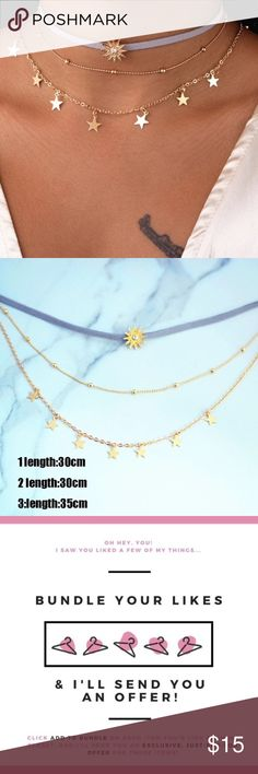 """New Gold Star Layered Choker This particular items comes in layers, all 3 chokers included. Save more when you bundle just """"add to bundle"""" and I'll send u a private offer. COLOR: gold   Brand new ✅ ✨Boutique Item✨ Not accepting OFFERS on INDIVIDUAL ITEMS ❌ No trades ❌ No drama zone❌ No holds❌   Prices are FIRM    If u have any questions plz ask before purchase is made Jewelry Necklaces"""