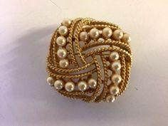 Vintage Twisted Goldtone Metal Faux Seed Pearl Brooch Wedding Statement Evening  #Unbranded