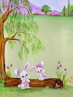 κουνελάκια παιδική τοιχογραφία