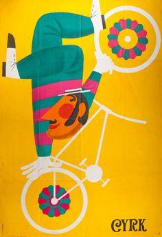 By Antoni Cetnarowski, 1 9 7 0, Upside down cyclist, CYRK.