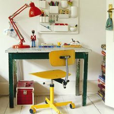 Yellow chair pencil holder on wall: Home Office. Find more ideas at Redonline.co.uk