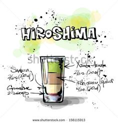 Hand drawn illustration of cocktail. HIROSHIMA. Vector collection.
