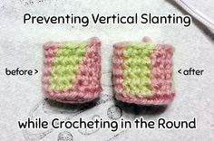 To get that vertical stripe effect without the stitches slanting, do all your single crochets in the front loop only.