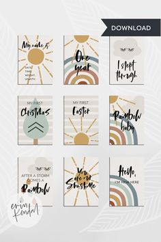 Baby Monthly Milestones, Baby Milestone Cards, Rainbow Boys, Rainbow Art, Photo Print Sizes, Album Scrapbook, Hand Lettering Art, Bullet Journal Font, Baby Kind