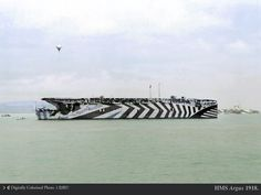 """aircraft carrier HMS in dazzle camouflage with HMS """"Furious""""Imperial War Museum Photo 以下にスキーム壁紙 Wooden Boat Kits, Wooden Boats, Royal Navy, Us Navy, Hms Furious, British Aircraft Carrier, Marina Real, World Of Warships, Dazzle Camouflage"""