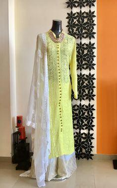 Georgette chikankari kurta with zari accents exclusively designed by Sara's closet