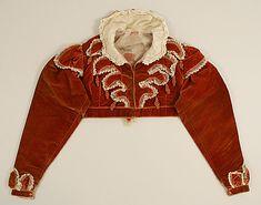Red/orange silk velvet Spencer jacket, 1819–22, British - in the Metropolitan Museum of Art costume collections.