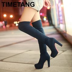 VALLKIN New Women Suede Sexy Fashion Over the Knee Boots Sexy Thin High Heel Boots Platform Woman Shoes Black Blue size 35-43