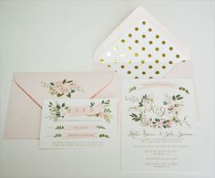 Whimsy Floral Crest Wedding Invitation Suite/Set by firstsnowfall, $245.00
