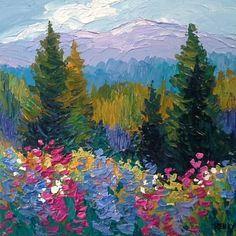 landscape paintings acrylic Wildflowers and Sunshine by Laura Reilly Acrylic ~ 10 x 10 Kunst Inspo, Art Inspo, Painting Inspiration, Small Canvas Art, Impressionist Paintings, Impressionism Art, Art Paintings, Mountain Paintings, Aesthetic Art