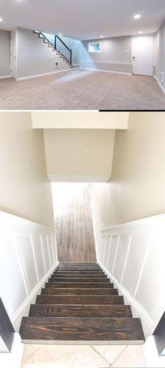 Best DIY Renovation Ideas for unfinished Basement Basement Decorating, Basement Makeover, Basement Renovations, Diy Home Crafts, Decor Crafts, Diy Home Decor, Rustic Stairs, Diy Ideas, Decor Ideas