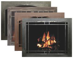 Bar Iron Collection of Fireplace Glass Doors