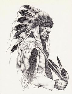 sketches of native american hunters | the old cheyenne by vinanti traditional art drawings portraits figures
