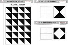 Edit du 02/08/14 : Ajout de deux nouvelles séries de carrés bicolores. Suivez l'icône Je ne connaissais pas cette petite activité que m'a envoyée Agathe, mais c'est avec plaisir que je vais plastifier tout ça pour en faire une activité d'autonomie dans ma classe ! En gros, les élèves ont des carrés bicolores à disposition …