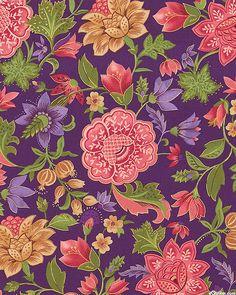 Notting Hill - Folk Flower Cascade - Eggplant Purple/Gold