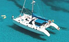 Galapagos cruise boat on calm clear seas
