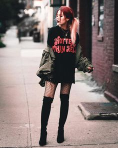 Black graphic long tee+black fishnet tights+black over the knee boots+khaki bomber jacket+gold necklaces. Grunge Outfits, Style Outfits, Casual Fall Outfits, Mode Outfits, Grunge Fashion, Trendy Fashion, Fashion Outfits, Trendy Style, Fashion Top