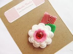 Girls Wool Felt Flower Holiday Hair Clip Baby by CharlieCocos, $4.95