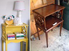 A pink & yellow safari: side table refurbish