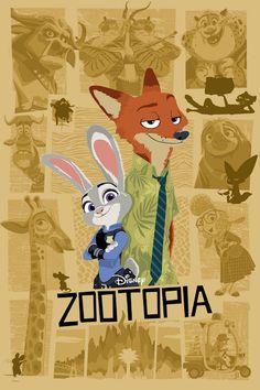 Zootopia Poster Disney 2016 by Joe Dunn Disney Animation, Disney Pixar, Art Disney, Disney Kunst, Disney And Dreamworks, Disney Love, Animation Movies, Animated Movie Posters, Disney Movie Posters