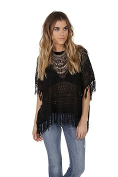 Final Sale- Black Crochet Poncho Sweater