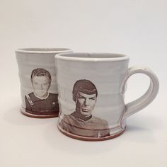 Handmade Spock and Kirk Mug Set by rothshank on Etsy