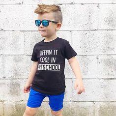 Alucard Statement Shirt (Keepin' It Cool In Preschool) – Valentines Day Gift Ideas Toddler Boy Fashion, Kids Fashion, Fashion Clothes, Boys Mohawk, Little Boy Mohawk, Baby Boy Outfits, Kids Outfits, Preschool Shirts, Boy Hairstyles