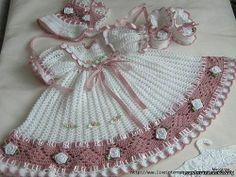 Crochet Baby Dress International Crochet Patterns, lovely heirloom style baby d. Crochet Baby Dress Pattern, Baby Dress Patterns, Baby Girl Crochet, Crochet Baby Clothes, Crochet Patterns, Crochet Designs, Crochet Baby Dress Free Pattern, Pattern Dress, Knitting Patterns