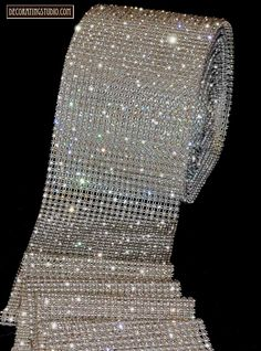 BLING WEDDING CAKE IMAGES | Detail Image of Clear Rhinestone Row Banding on Mesh ~ available in 3 ...