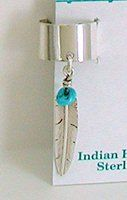 Navajo turquoise and Sterling Silver feather ear cuff