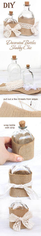 botellas de vidrio decoradas con arpillera