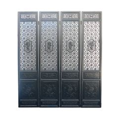 Chinese Black Geometric Flower Pattern Wooden Screen Panel - Golden Lotus Antiques